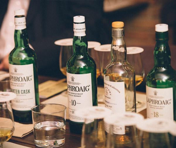laphroaig whisky bottles