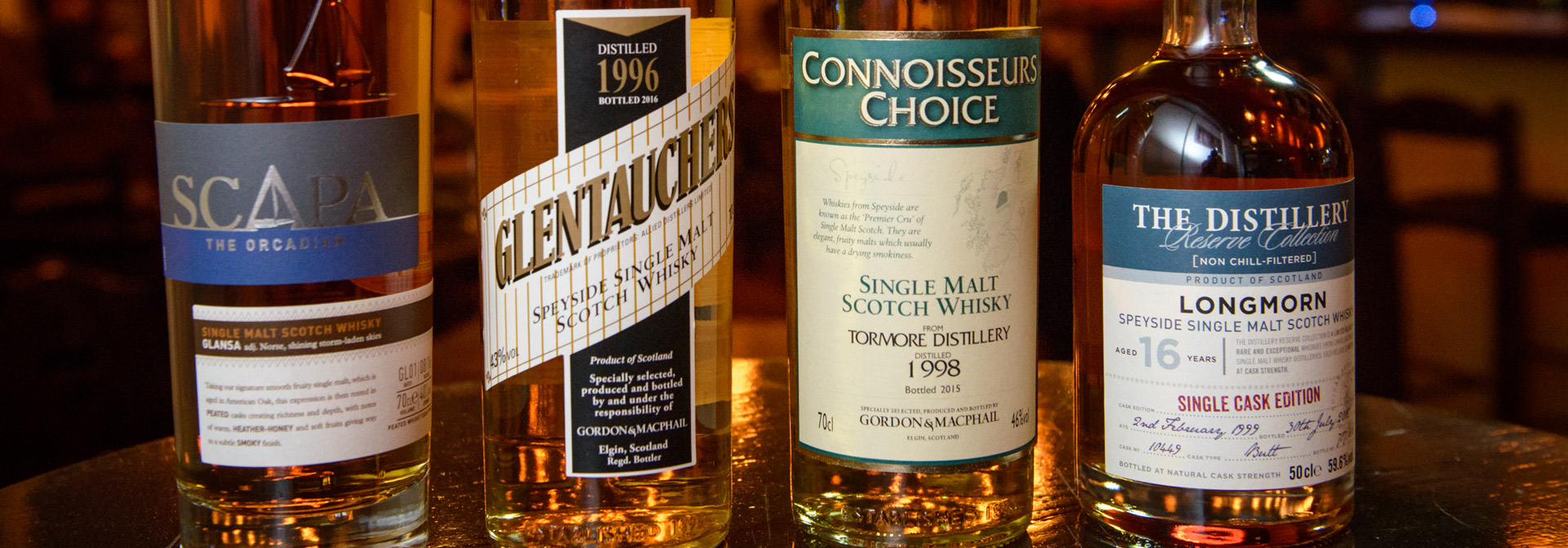 the tasters club whisky tasting Scapa Tormore Glentauchers Gordon & MacPhail Longmorn Avalon