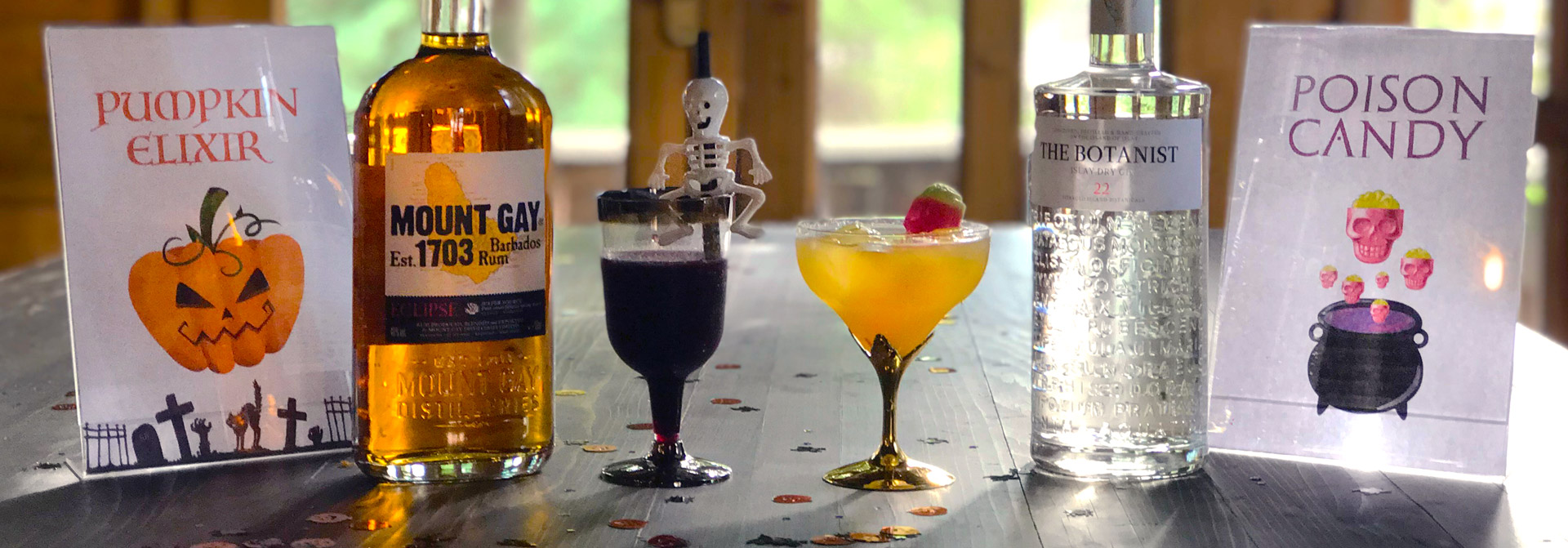 the tasters club halloween cocktails the ranch mount gay rum botanist gin