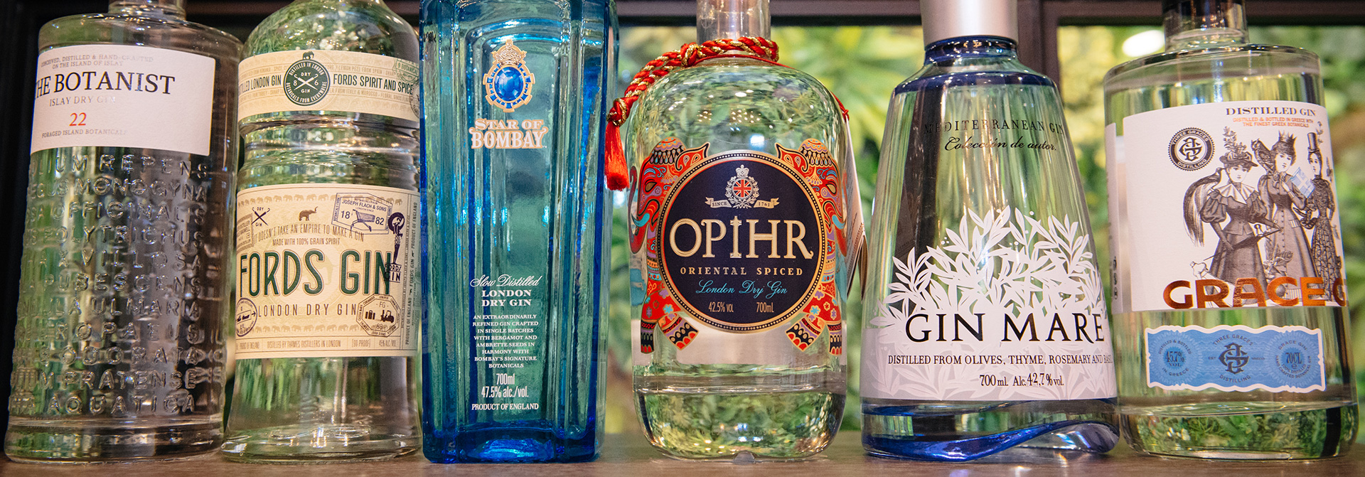 the tasters club gin tasting day amber The Botanist Fords Star of Bombay Opihr Gin Mare Grace Gin