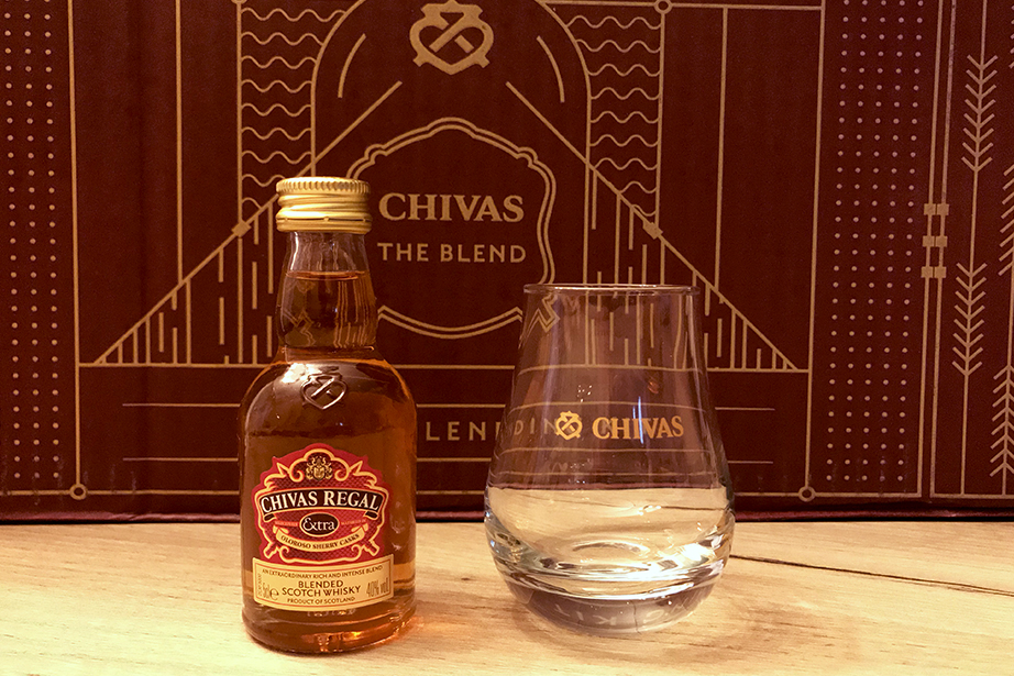 Chivas Extra miniature and Chivas Spey Dram glass